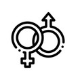 male and female gender sign wedding icon vector image vector image