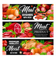 meat products sausages and vegetables vector image vector image