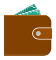 money wallet with dollar cash vector image