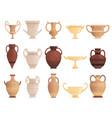 old ancient vessel clay jug cups and amphoras vector image vector image