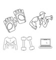 personal trainer gloves dumbbells a male torso vector image
