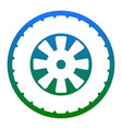 road tire sign white icon in bluish vector image