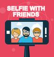 Selfie with friends - smartphone on selfie stick vector image vector image