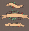 Set of doodle ornate floral ribbons vector image vector image