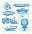 set steampunk hand drawn dirigibles vector image vector image