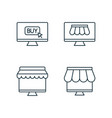 shopping by online market line icons set on white vector image vector image