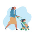 smiling woman walking outdoor with bastroller vector image vector image