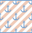 tile sailor pattern with blue anchor and white vector image vector image