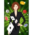 Confident lucky girl throws aces vector image