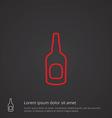 beer bottle outline symbol red on dark background vector image