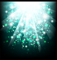 blue sun light burst background with bokeh vector image