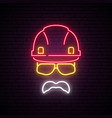 Builder neon sign helmet construction icon