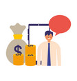 businessman mobile money bag talking vector image