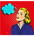 businesswoman interested in communicating pop art vector image vector image