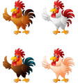 cartoon funny chicken collection set vector image vector image
