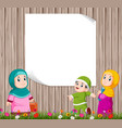children are standing and playing with mother vector image vector image