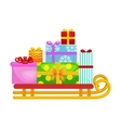 christmas gifts in stack box on sled winter vector image vector image