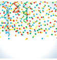 confetti and streamers background with copy space vector image vector image