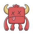 dead red square devil cartoon monster vector image vector image