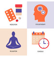 depression treatment concept icons set in flat vector image vector image