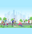 different people walking in park vector image vector image