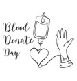 doodle blood donor day style collection vector image vector image