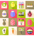 Easter flat styled icon set 4 with long shadow vector image vector image