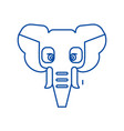 elephant head line icon concept elephant head vector image