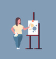 fatty obese woman painter holding paintbrush vector image
