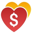 Favorite Hearts Price Gradient Icon vector image