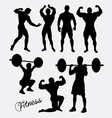 Fitness sport training silhouette vector image