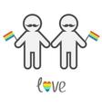 Gay marriage Pride symbol Two contour man with vector image vector image