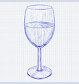 glass of wine blue hand drawn sketch on lined vector image vector image