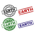 grunge textured earth seal stamps vector image