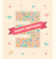 happy birthday number 3 colorful greeting card for vector image