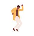 happy energetic black-skinned man expressing joy vector image