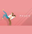 happy young man carrying young woman on back vector image vector image