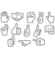 human hands gesture thin line icons vector image