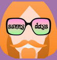 Icon of a man with glasses that says sunny days