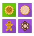 isolated object of biscuit and bake icon set of vector image