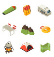 isometric camping icons collection vector image vector image