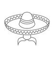line art black and white mexican man avatar vector image vector image