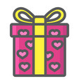 love present filled outline icon valentines day vector image vector image