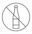 No alcohol thin line icon drink and warning