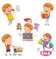 of little girl shopping vector image