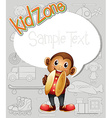 Paper template with monkey and toys vector image vector image
