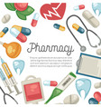 pharmacy pills and syringe treatment and vector image vector image