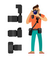 photographer with digital cameras set taking photo vector image vector image
