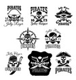 pirate skull icon and jolly roger flag symbol vector image vector image