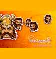 raavana with ten heads for dussehra navratri vector image vector image